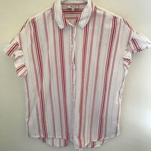 MADEWELL Red/White Vertical Stripe Button Down Top